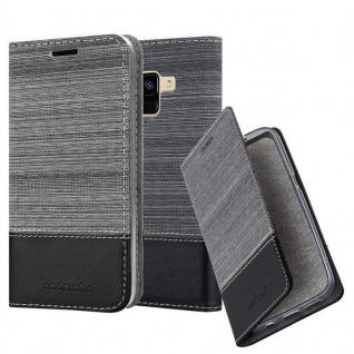 Cadorabo Hülle für Samsung Galaxy A8 2018 in GRAU SCHWARZ - Handyhülle mit Magnetverschluss, Standfunktion und Kartenfach - Case Cover Schutzhülle Etui Tasche Book Klapp Style