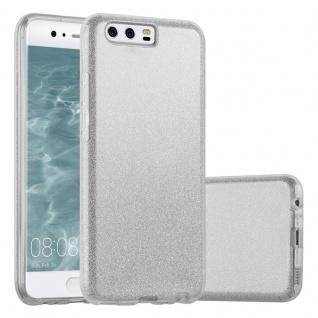 Cadorabo Hülle für Huawei P10 - Hülle in STERNENSTAUB SILBER ? TPU Silikon und Hardcase Handyhülle im Glitzer Design - Hard Case TPU Silikon Schutzhülle