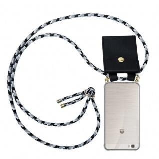 Cadorabo Handy Kette für Huawei P8 LITE 2015 in SCHWARZ CAMOUFLAGE - Silikon Necklace Umhänge Hülle mit Gold Ringen, Kordel Band Schnur und abnehmbarem Etui ? Schutzhülle
