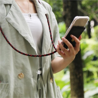 Cadorabo Handy Kette für Nokia 2.2 in SCHWARZ ROT Silikon Necklace Umhänge Hülle mit Gold Ringen, Kordel Band Schnur und abnehmbarem Etui Schutzhülle - Vorschau 4