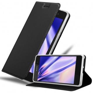 Cadorabo Hülle für Sony Xperia E5 in CLASSY SCHWARZ - Handyhülle mit Magnetverschluss, Standfunktion und Kartenfach - Case Cover Schutzhülle Etui Tasche Book Klapp Style