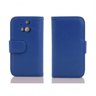 Cadorabo Hülle für HTC ONE M8 (2. Gen.) in NEPTUN BLAU - Handyhülle mit Magnetverschluss und 3 Kartenfächern - Case Cover Schutzhülle Etui Tasche Book Klapp Style - Vorschau 2