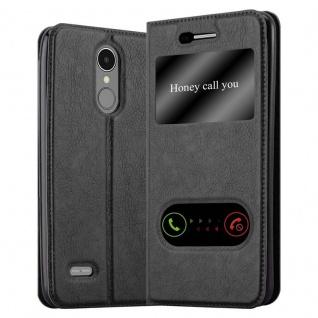 Cadorabo Hülle für LG K8 2017 in KOMETEN SCHWARZ - Handyhülle mit Magnetverschluss, Standfunktion und 2 Sichtfenstern - Case Cover Schutzhülle Etui Tasche Book Klapp Style