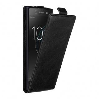 Cadorabo Hülle für Sony Xperia XA1 in NACHT SCHWARZ - Handyhülle im Flip Design mit unsichtbarem Magnetverschluss - Case Cover Schutzhülle Etui Tasche Book Klapp Style