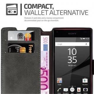 Cadorabo Hülle für Sony Xperia Z5 COMPACT - Hülle in MATT GRAU - Handyhülle mit Standfunktion und Kartenfach im Retro Design - Case Cover Schutzhülle Etui Tasche Book Klapp Style