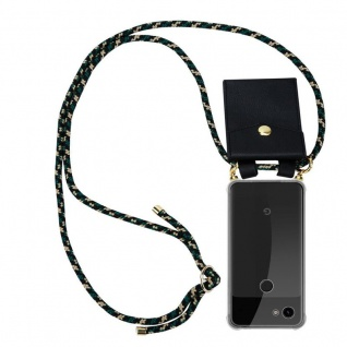 Cadorabo Handy Kette für Google Pixel 3a XL in CAMOUFLAGE Silikon Necklace Umhänge Hülle mit Gold Ringen, Kordel Band Schnur und abnehmbarem Etui Schutzhülle