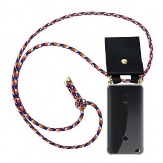 Cadorabo Handy Kette für Xiaomi Mi Max 2 in ORANGE BLAU WEISS - Silikon Necklace Umhänge Hülle mit Gold Ringen, Kordel Band Schnur und abnehmbarem Etui ? Schutzhülle