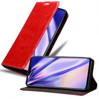 Cadorabo Hülle für LG G8S in APFEL ROT Handyhülle mit Magnetverschluss, Standfunktion und Kartenfach Case Cover Schutzhülle Etui Tasche Book Klapp Style