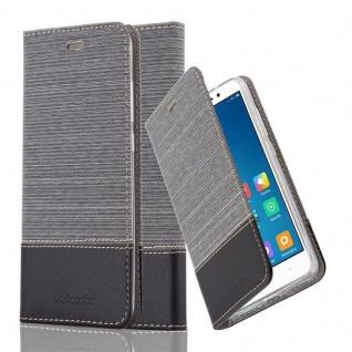 Cadorabo Hülle für Xiaomi Red Mi Note 4 in GRAU SCHWARZ - Handyhülle mit Magnetverschluss, Standfunktion und Kartenfach - Case Cover Schutzhülle Etui Tasche Book Klapp Style