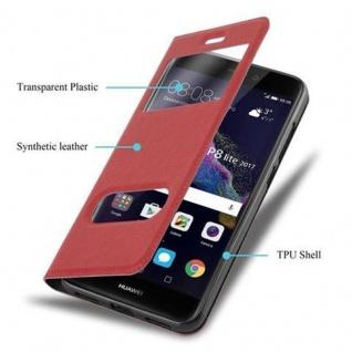 Cadorabo Hülle für Huawei P8 LITE 2017 in SAFRAN ROT ? Handyhülle mit Magnetverschluss, Standfunktion und 2 Sichtfenstern ? Case Cover Schutzhülle Etui Tasche Book Klapp Style - Vorschau 3
