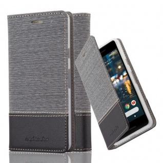 Cadorabo Hülle für Google Pixel 2 in GRAU SCHWARZ - Handyhülle mit Magnetverschluss, Standfunktion und Kartenfach - Case Cover Schutzhülle Etui Tasche Book Klapp Style