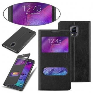 Cadorabo Hülle für Samsung Galaxy NOTE 4 in KOMETEN SCHWARZ ? Handyhülle mit Magnetverschluss, Standfunktion und 2 Sichtfenstern ? Case Cover Schutzhülle Etui Tasche Book Klapp Style - Vorschau 3