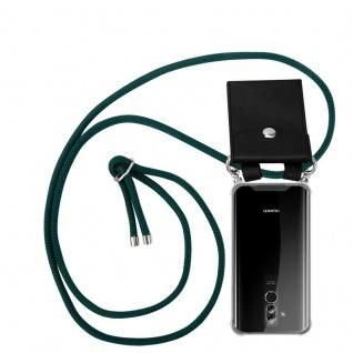Cadorabo Handy Kette für Huawei MATE 20 LITE in ARMEE GRÜN - Silikon Necklace Umhänge Hülle mit Silber Ringen, Kordel Band Schnur und abnehmbarem Etui - Schutzhülle