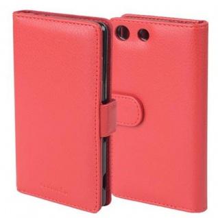 Cadorabo Hülle für Sony Xperia M5 in INFERNO ROT - Handyhülle mit Magnetverschluss und 3 Kartenfächern - Case Cover Schutzhülle Etui Tasche Book Klapp Style