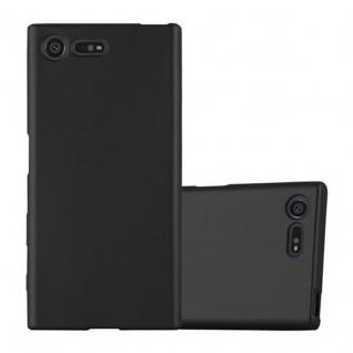 Cadorabo Hülle für Sony Xperia X Compact - Hülle in METALLIC SCHWARZ ? Handyhülle aus TPU Silikon im Matt Metallic Design - Ultra Slim Soft Backcover Case Bumper