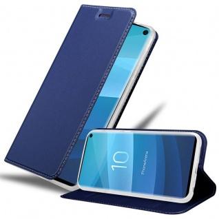 Cadorabo Hülle für Samsung Galaxy S10 in CLASSY DUNKEL BLAU - Handyhülle mit Magnetverschluss, Standfunktion und Kartenfach - Case Cover Schutzhülle Etui Tasche Book Klapp Style
