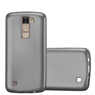 Cadorabo Hülle für LG K8 2016 in METALLIC GRAU - Handyhülle aus flexiblem TPU Silikon - Silikonhülle Schutzhülle Ultra Slim Soft Back Cover Case Bumper