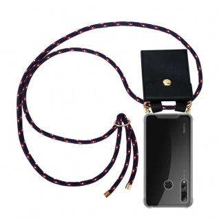 Cadorabo Handy Kette für Huawei P SMART PLUS 2019 in BLAU ROT WEISS GEPUNKTET - Silikon Necklace Umhänge Hülle mit Gold Ringen, Kordel Band Schnur und abnehmbarem Etui ? Schutzhülle