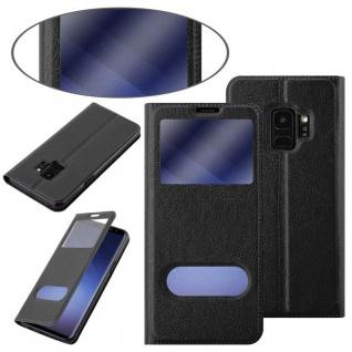 Cadorabo Hülle für Samsung Galaxy S9 in KOMETEN SCHWARZ ? Handyhülle mit Magnetverschluss, Standfunktion und 2 Sichtfenstern ? Case Cover Schutzhülle Etui Tasche Book Klapp Style - Vorschau 3