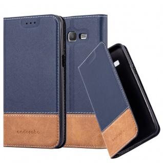 Cadorabo Hülle für Samsung Galaxy GRAND PRIME in BLAU BRAUN ? Handyhülle mit Magnetverschluss, Standfunktion und Kartenfach ? Case Cover Schutzhülle Etui Tasche Book Klapp Style
