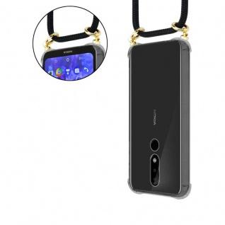 Cadorabo Handy Kette für Nokia 5.1 Plus in SCHWARZ - Silikon Necklace Umhänge Hülle mit Gold Ringen, Kordel Band Schnur und abnehmbarem Etui ? Schutzhülle - Vorschau 5