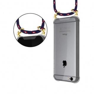 Cadorabo Handy Kette für Apple iPhone 6 PLUS / iPhone 6S PLUS in BLAU ROT WEISS GEPUNKTET - Silikon Necklace Umhänge Hülle mit Gold Ringen, Kordel Band Schnur und abnehmbarem Etui ? Schutzhülle - Vorschau 5