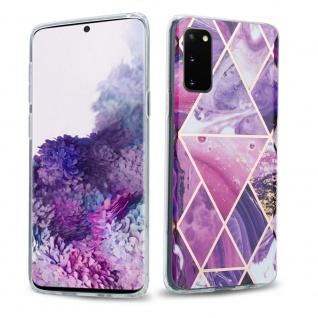 Cadorabo Hülle für Samsung Galaxy S20 Hülle in Lila Welle Marmor No.14 Handyhülle aus TPU Silikon mit Muster Mosaik Silikonhülle Schutzhülle Ultra Slim Back Cover Case Bumper
