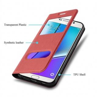 Cadorabo Hülle für Samsung Galaxy NOTE 5 in SAFRAN ROT - Handyhülle mit Magnetverschluss, Standfunktion und 2 Sichtfenstern - Case Cover Schutzhülle Etui Tasche Book Klapp Style - Vorschau 3
