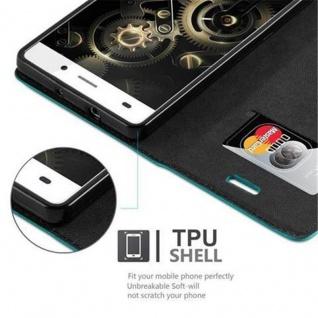 Cadorabo Hülle für Huawei P8 LITE 2015 in PETROL TÜRKIS - Handyhülle mit Magnetverschluss, Standfunktion und Kartenfach - Case Cover Schutzhülle Etui Tasche Book Klapp Style - Vorschau 3