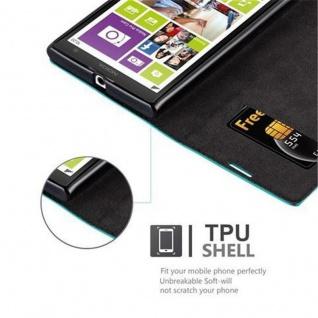 Cadorabo Hülle für Nokia Lumia 1020 in PETROL TÜRKIS - Handyhülle mit Magnetverschluss, Standfunktion und Kartenfach - Case Cover Schutzhülle Etui Tasche Book Klapp Style - Vorschau 3