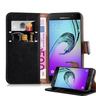 Cadorabo Hülle für Samsung Galaxy A3 2016 in GRAPHIT SCHWARZ - Handyhülle mit Magnetverschluss, Standfunktion und Kartenfach - Case Cover Schutzhülle Etui Tasche Book Klapp Style