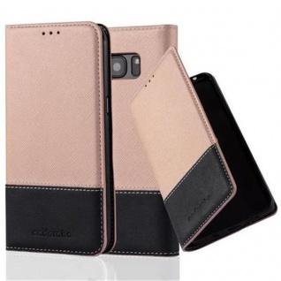 Cadorabo Hülle für Samsung Galaxy S7 EDGE in ROSÉ GOLD SCHWARZ ? Handyhülle mit Magnetverschluss, Standfunktion und Kartenfach ? Case Cover Schutzhülle Etui Tasche Book Klapp Style