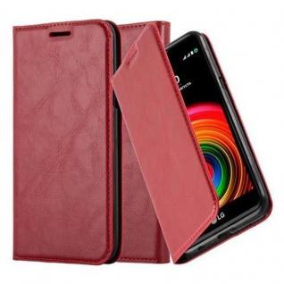 Cadorabo Hülle für LG X Power in APFEL ROT - Handyhülle mit Magnetverschluss, Standfunktion und Kartenfach - Case Cover Schutzhülle Etui Tasche Book Klapp Style
