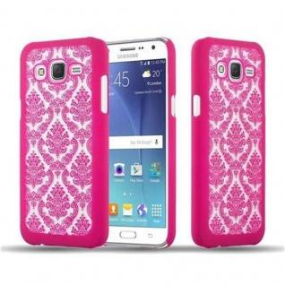 Samsung Galaxy J7 2015 Hardcase Hülle in PINK von Cadorabo - Blumen Paisley Henna Design Schutzhülle ? Handyhülle Bumper Back Case Cover