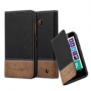 Cadorabo Hülle für Nokia Lumia 630 in SCHWARZ BRAUN ? Handyhülle mit Magnetverschluss, Standfunktion und Kartenfach ? Case Cover Schutzhülle Etui Tasche Book Klapp Style