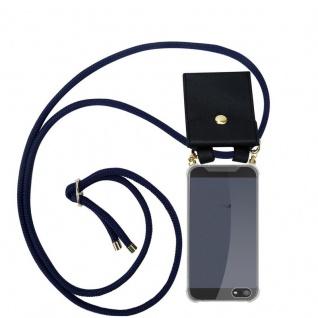 Cadorabo Handy Kette für Apple iPhone 5 / 5S / SE in TIEF BLAU - Silikon Necklace Umhänge Hülle mit Gold Ringen, Kordel Band Schnur und abnehmbarem Etui ? Schutzhülle