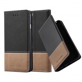 Cadorabo Hülle für Apple iPhone 6 / iPhone 6S in SCHWARZ BRAUN ? Handyhülle mit Magnetverschluss, Standfunktion und Kartenfach ? Case Cover Schutzhülle Etui Tasche Book Klapp Style