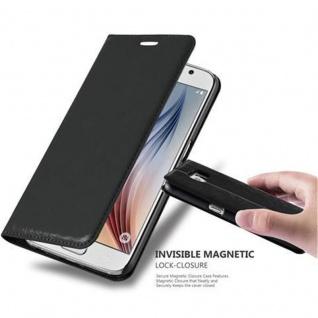 Cadorabo Hülle für Samsung Galaxy S6 in NACHT SCHWARZ Handyhülle mit Magnetverschluss, Standfunktion und Kartenfach Case Cover Schutzhülle Etui Tasche Book Klapp Style
