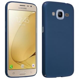 Cadorabo Hülle für Samsung Galaxy J2 2016 in METALL BLAU Hardcase Handyhülle aus Plastik gegen Kratzer und Stöße Schutzhülle Bumper Ultra Slim Back Case Hard Cover