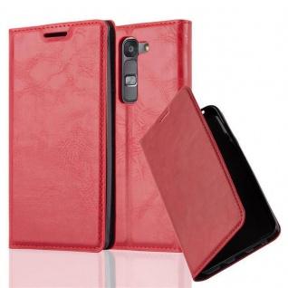Cadorabo Hülle für LG G4C in APFEL ROT - Handyhülle mit Magnetverschluss, Standfunktion und Kartenfach - Case Cover Schutzhülle Etui Tasche Book Klapp Style