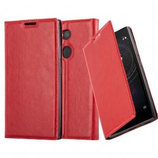 Cadorabo Hülle für Sony Xperia L2 in APFEL ROT Handyhülle mit Magnetverschluss, Standfunktion und Kartenfach Case Cover Schutzhülle Etui Tasche Book Klapp Style