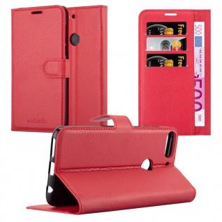 Cadorabo Hülle für HTC Desire 12 PLUS in KARMIN ROT - Handyhülle mit Magnetverschluss, Standfunktion und Kartenfach - Case Cover Schutzhülle Etui Tasche Book Klapp Style