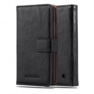 Cadorabo Hülle für Nokia Lumia 640 in GRAPHIT SCHWARZ ? Handyhülle mit Magnetverschluss, Standfunktion und Kartenfach ? Case Cover Schutzhülle Etui Tasche Book Klapp Style