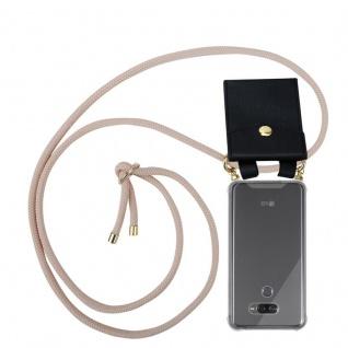 Cadorabo Handy Kette für LG K50 in PERLIG ROSÉGOLD - Silikon Necklace Umhänge Hülle mit Gold Ringen, Kordel Band Schnur und abnehmbarem Etui ? Schutzhülle