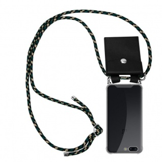 Cadorabo Handy Kette für OnePlus 5 in CAMOUFLAGE - Silikon Necklace Umhänge Hülle mit Silber Ringen, Kordel Band Schnur und abnehmbarem Etui - Schutzhülle