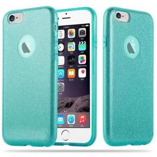 Cadorabo Hülle für Apple iPhone 6 / iPhone 6S - Hülle in STERNENSTAUB TÜRKIS - TPU Silikon und Hardcase Handyhülle im Glitzer Design - Hard Case TPU Silikon Schutzhülle