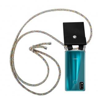 Cadorabo Handy Kette für Honor 9x Lite in RAINBOW Silikon Necklace Umhänge Hülle mit Silber Ringen, Kordel Band Schnur und abnehmbarem Etui Schutzhülle