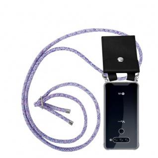 Cadorabo Handy Kette für LG V40 in UNICORN Silikon Necklace Umhänge Hülle mit Silber Ringen, Kordel Band Schnur und abnehmbarem Etui Schutzhülle