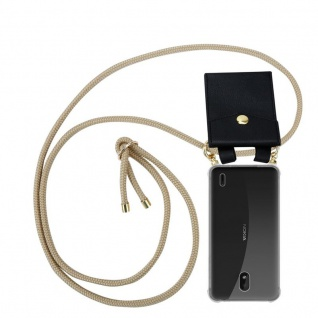 Cadorabo Handy Kette für Nokia 1 PLUS in GLÄNZEND BRAUN Silikon Necklace Umhänge Hülle mit Gold Ringen, Kordel Band Schnur und abnehmbarem Etui Schutzhülle