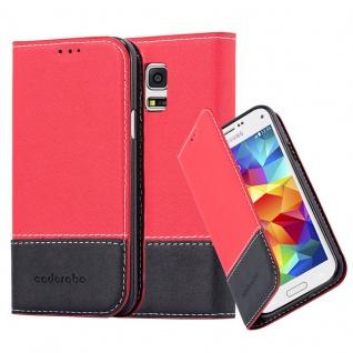 Cadorabo Hülle für Samsung Galaxy S5 MINI / S5 MINI DUOS in ROT SCHWARZ Handyhülle mit Magnetverschluss, Standfunktion und Kartenfach Case Cover Schutzhülle Etui Tasche Book Klapp Style